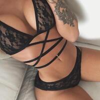 Women Summer Sexy Black Lace Up Bikini Set Bra Underwear Suit Lingerie US