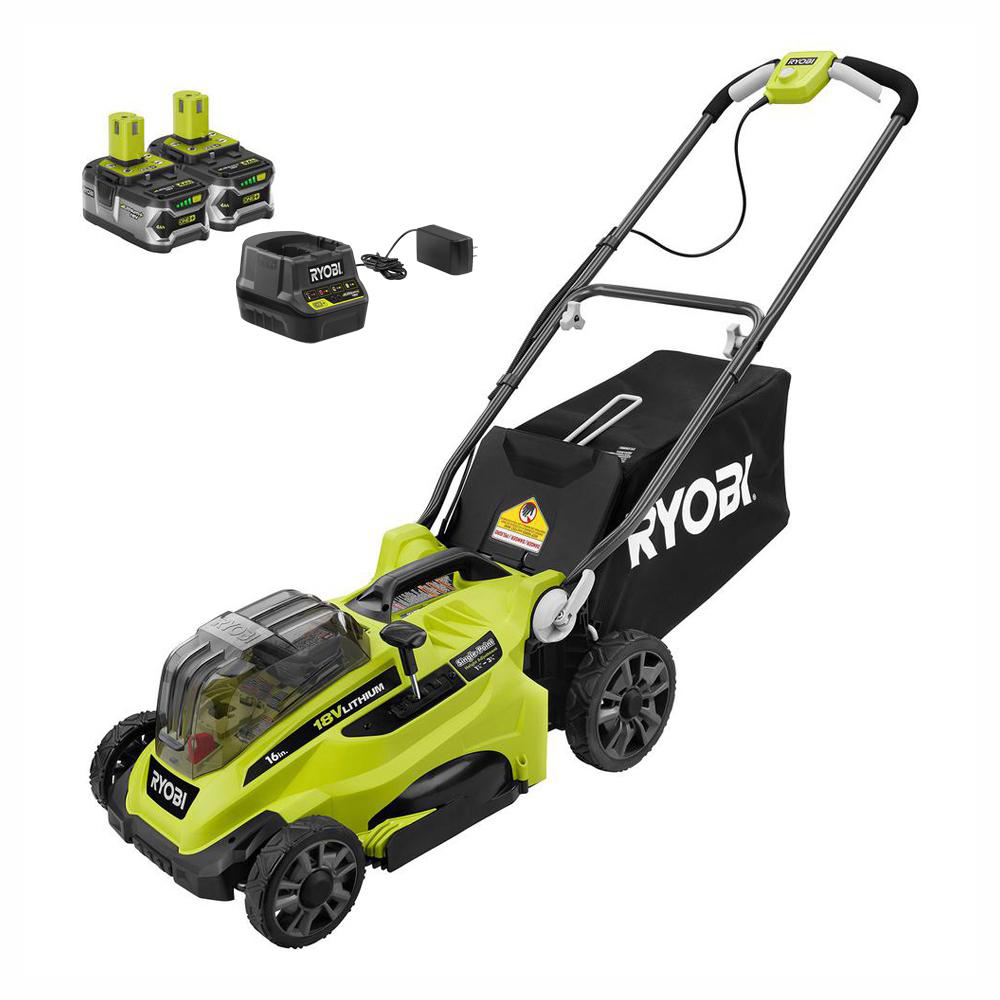 16 In. One+ 18-Volt Lithium-Ion Cordless Battery Walk Behind Push Lawn Mower Two