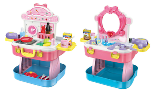 Childrens-Girls-Role-Play-Kitchen-amp-Dressing-Table-Beauty-Case-54-Piece-Set-4080