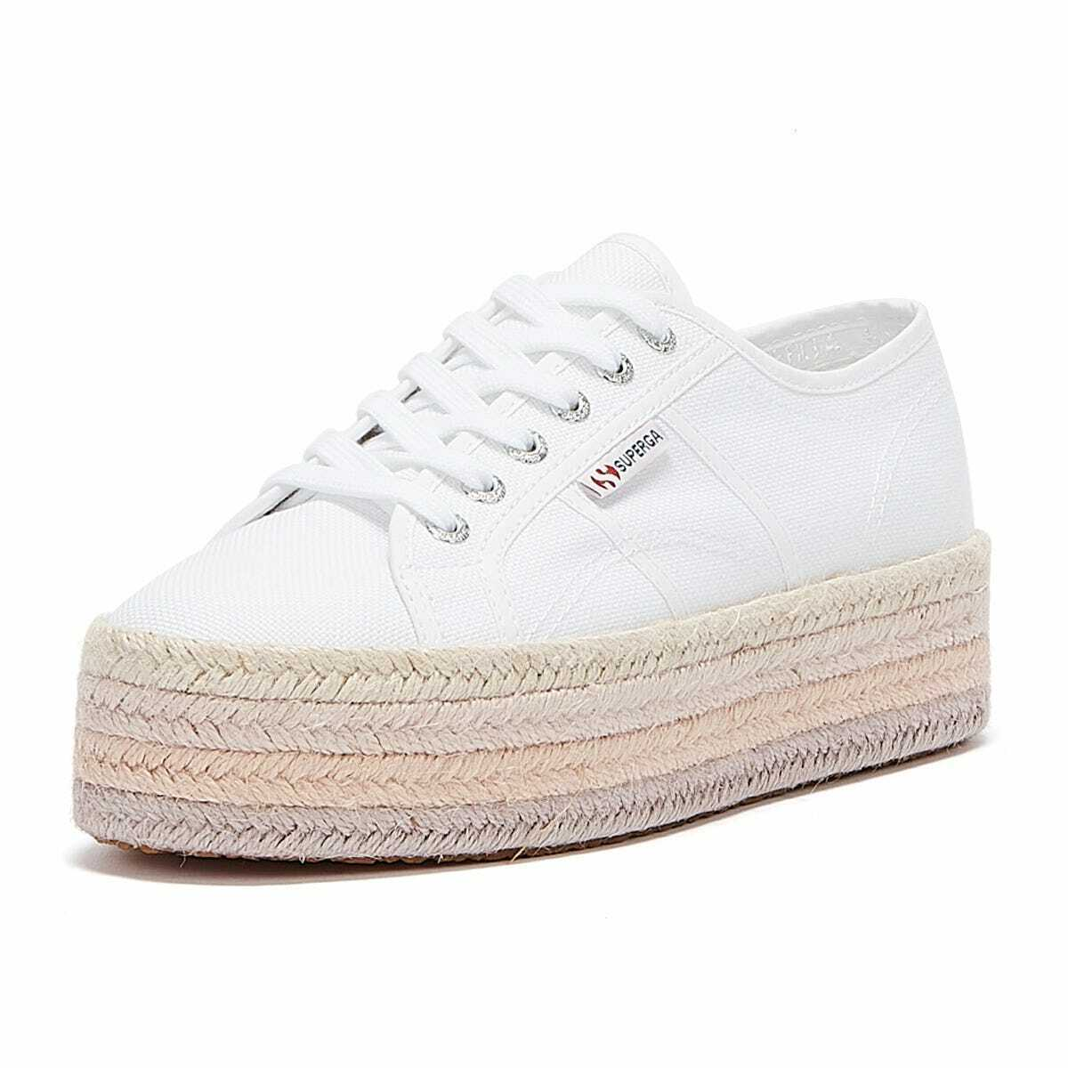 Superga 2790 COTROPE Womens White Pink Trainers Sports Athleisure Casual Shoes