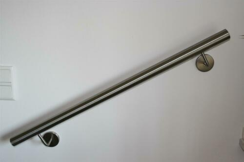 Edelstahl Handlauf V2A Treppenhandlauf Ø33,7mm 1800 mm 2 Halter Leicht gewölbt