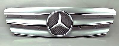 Mercedes C Class W203 4Dr 01-07 3 Fence Front Hood Sport Silver Grill Grille