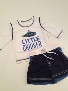 4d801a756d Carters Baby Boy Rash Guard Swimsuit Trunks Set Nautical Blue Size 3 ...