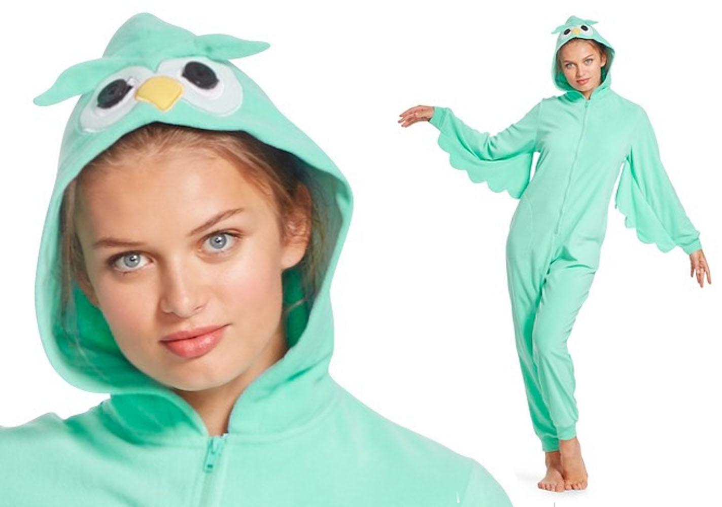 Hooded Aqua OWL Fleece Pajamas Woman Union Suit Costume Adult One Piece