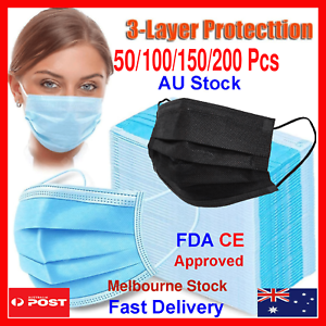 50 DISPOSABLE FACE MASK 3LAYER PROTECTIVE SURGICAL CE CERTIFIED Black Blue