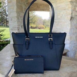NWT-Michael-Kors-Large-Charlotte-Top-Zip-Tote-handbag-leather-wallet-Black
