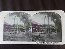 "c. 1900 COLOUR 3d STEREOGRAPH/ STEREOGRAM PHOTO CARD      ""CRISTOBAL PANAMA"""