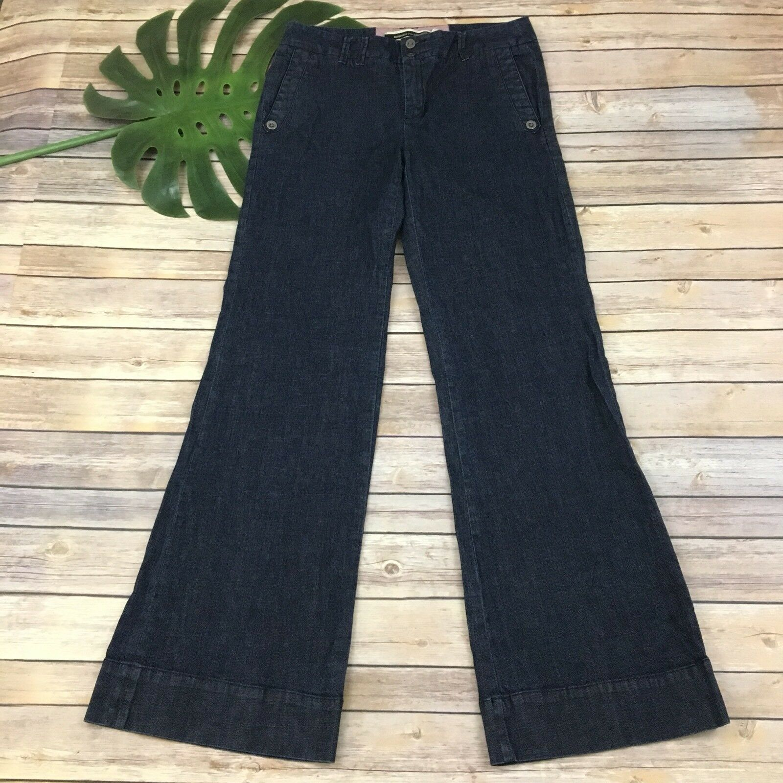 Daughters of the Liberation Anthropologie Wide Leg Jeans Size 6 Dark Wash