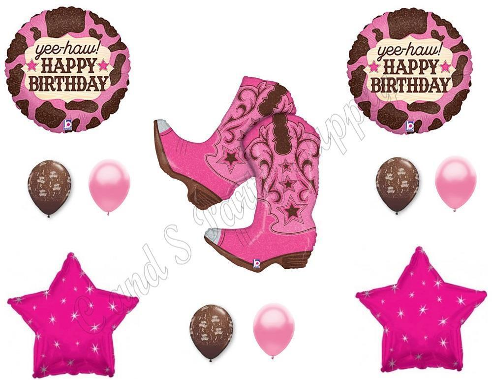 Western Party Supplies Balloons Cowboy Boots Horse Boys Girls Birthday New