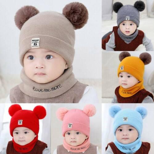 2Pcs Girl Boy Knitted Beanie Cap+Scarf Set Toddler Baby Winter Warm Fur Ball Hat