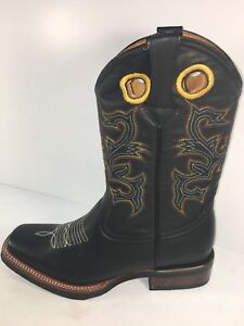 MENS RODEO COWBOY BOOTS GENUINE LEATHER WESTERN SQUARE TOE BOTAS