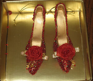 Decorative Red Shoes w-Red Beads & Flower Accents Ornaments-Pair -Gift Box - NWT