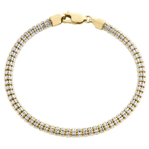 10k Gelb- & Weißgold Zweifarbig 4mm Diamantschliff Eis Perle Link Armband