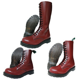 Solovair-NPS-Hand-Made-in-England-Cherry-Red-Steel-Toe-Boots-Punk-Skinhead-Biker