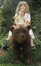 34 inch Large Early Steiff Bear On Cast Iron Wheels - Ride Along 1908