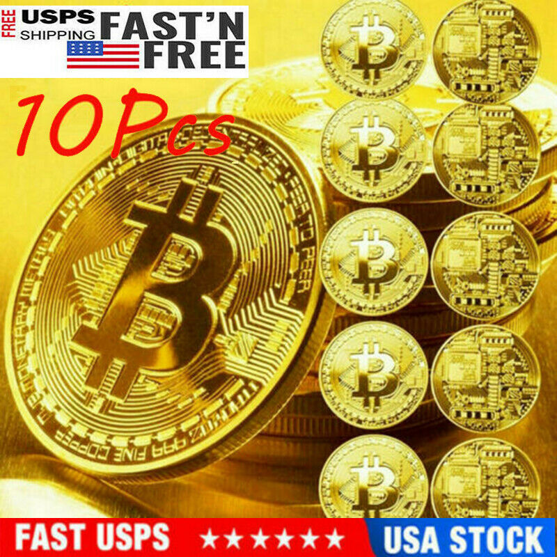 10 Pcs Gold Bitcoin Coins Commemorative 2020 New Collectors Gold Plated Bit Coin