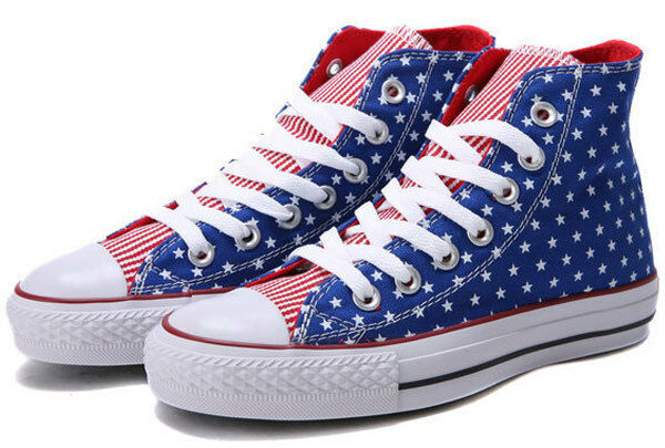 Converse Chuck Taylor All Star American Flag Hi Trainers Size 6.5 BNIB bluee Red