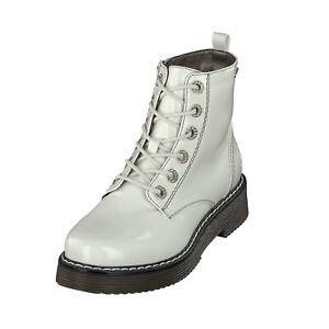 Details zu Bugatti Woman 431549325900 Damen Schuhe Lack Boots Reißverschluss 2100 Offwhite