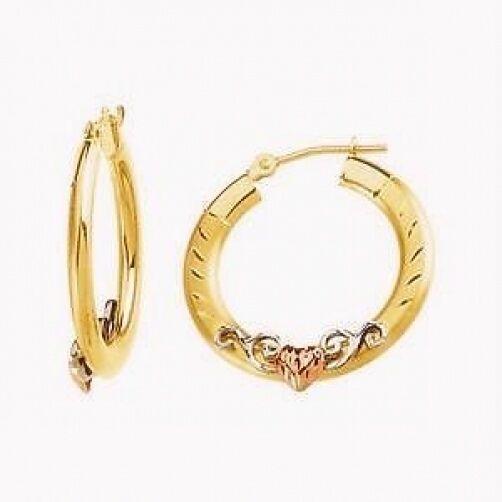 14K Yellow Gold Hoop Earrings Diamond Cut Tri Color Gold Heart 24mm Round Hoops