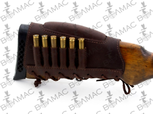 New Leather Rifle Cartridge Holder Ammo Buttstock 6 Pockets.Made in Europe.7