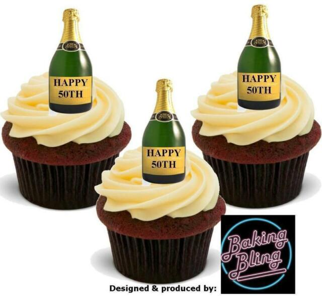 12 Novelty Happy 50th Birthday Champagne Bottles Stand up Edible ...