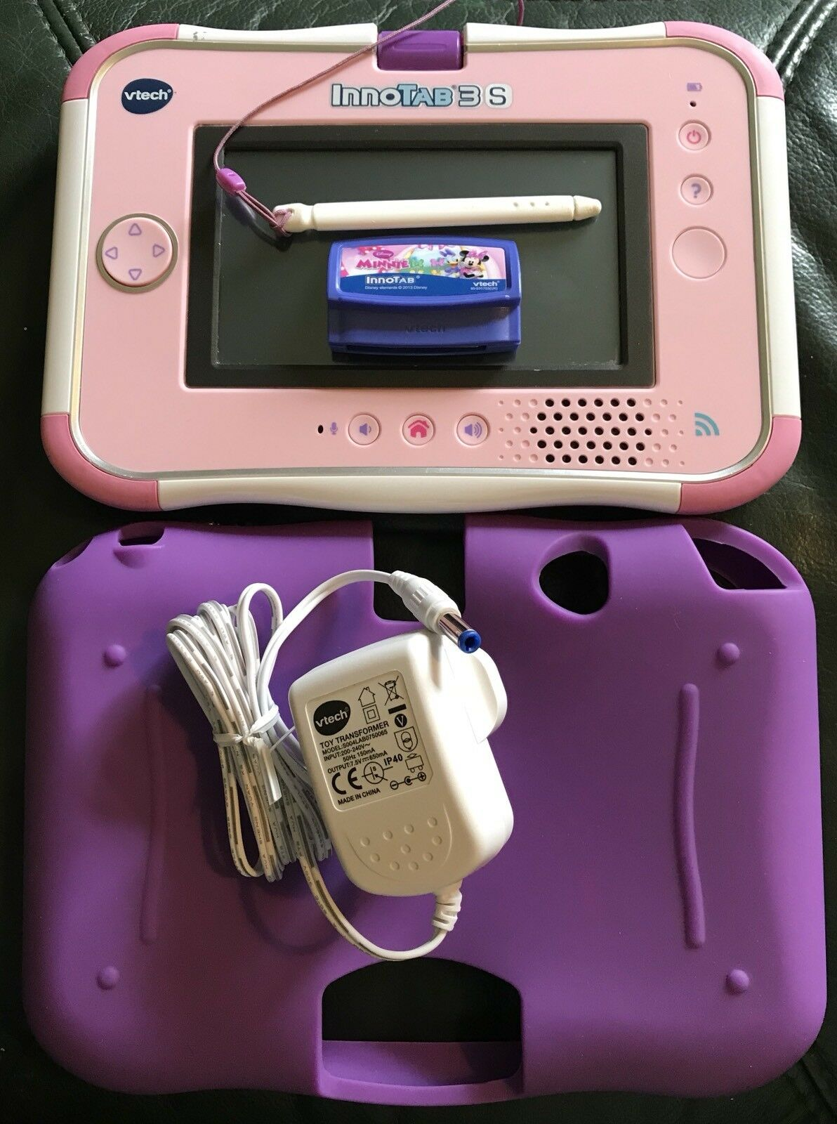 Pink Vtech Innotab 3S Plus Minnie Game, Downloaded Games, Charger And Gel Skin