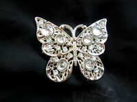 Gürtelschnalle Vollmetall silberfarben Schmetterling Glasperlen in den Flügeln
