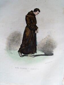 0-57 Lithographie Aquarellée 1862 Costumes Cour De Rome - Moine Déchaussé Nombreux Dans La VariéTé