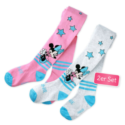 Disney Minnie Mouse Mädchen 2er Pack Strumpfhosen hellgrau rosa Sterne