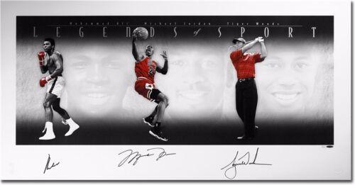 "Michael Jordan /& Tiger Woods Autographed Photo Poster 46/""x24/"" Muhammad Ali"