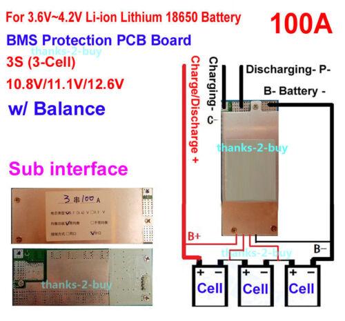 Saldo Las células 3S 12V 100A Li-ion Batería de litio 18650 BMS Protección Junta