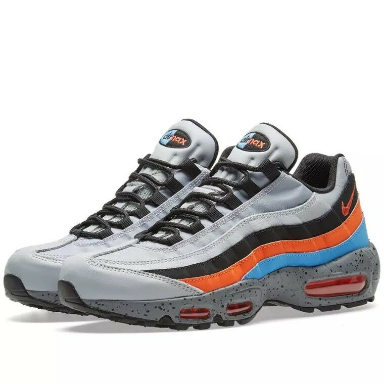 NIKE AIR MAX 95 PRM-Wolf Grey  Safety orange (538416 015) Pre-owned. RARE. SZ 13