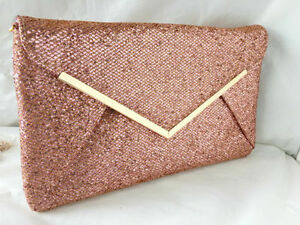 NEW ROSE GOLD GLITTER EVENING CLUTCH BAG ENVELOPE ... 3c807076f