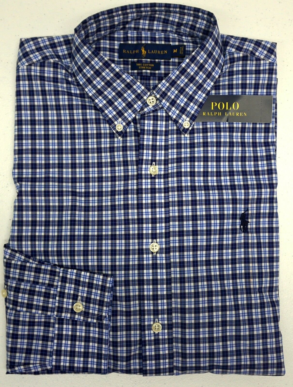 NWT  Polo Ralph Lauren Long Sleeve Stretch Shirt Mens M  bluee Plaid NEW