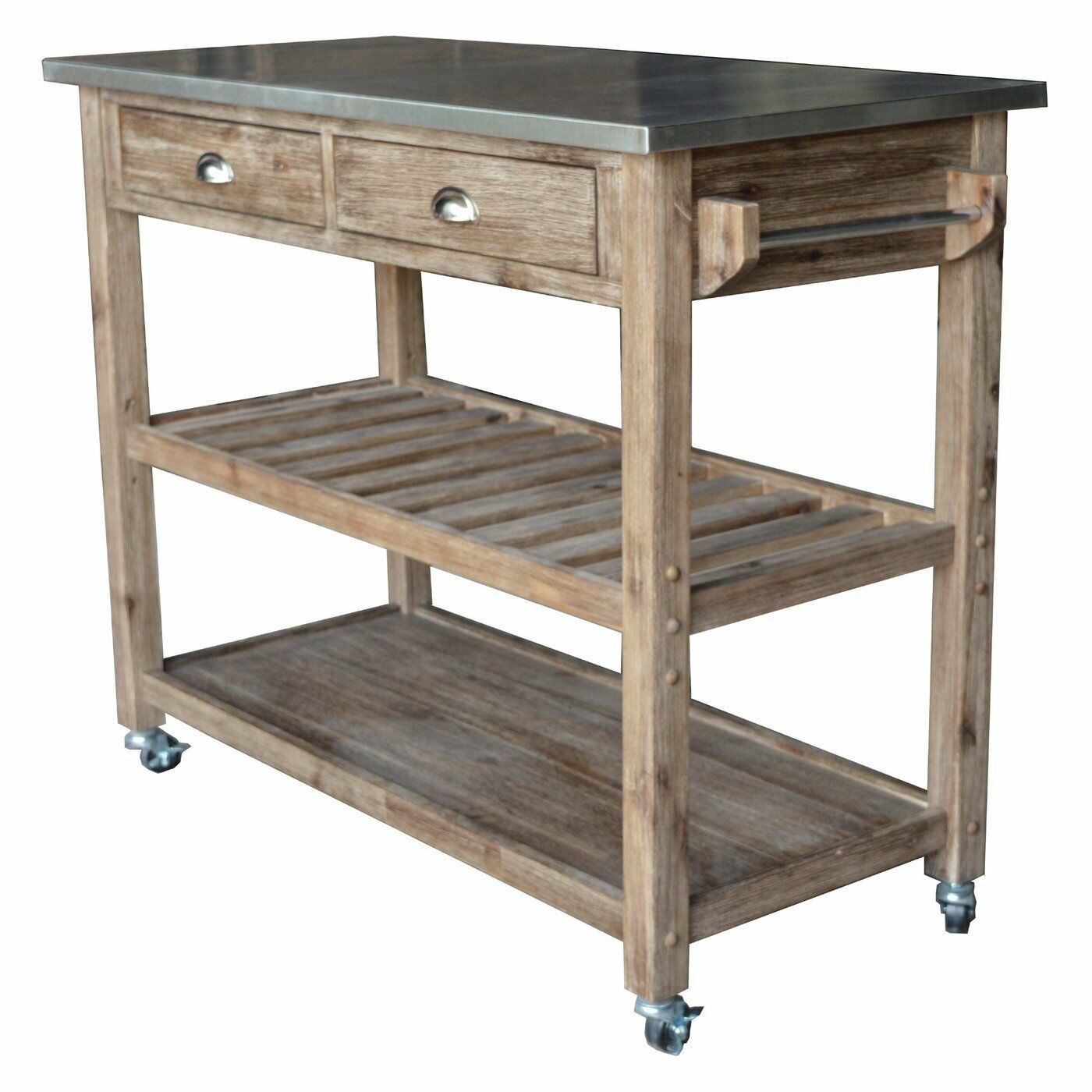 Modern Rustic Industrial Country Portable Kitchen Cart: Modern Kitchen Island Storage Cart Dining Portable Wheels