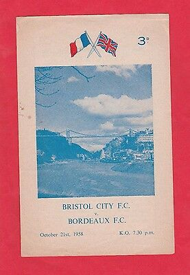 Clever Orig.prg 21.10.1958 Bristol City Fc - Girondins Bordeaux !! Sehr Selten