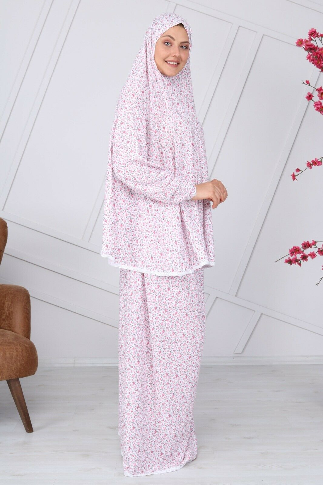 2pc Yusra Muslim Women kidz Prayer Dress w sleeve Scarf Hijab Cover Body RRP
