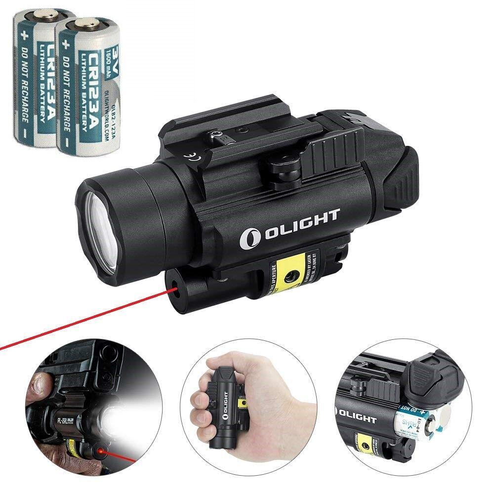 Olight PL-2RL Baldr White LED Flashlight + Red Laser Gun Light w  2x Batteries