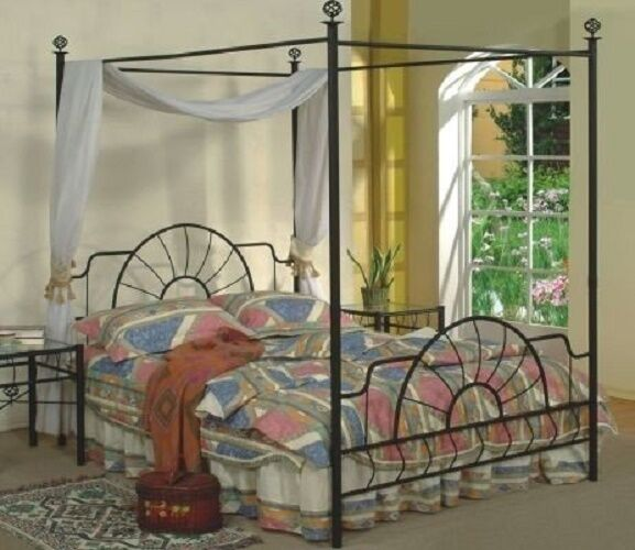 Four Poster Bed Frame Black Metal Canopy Queen Traditional Footboard