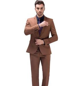 New Khaki Men S Business Casual Suit Slim Wedding Suits Two Piece Suit Jacket Ebay