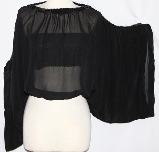 L Boho Bohemian Kimono Sheer Gothic Evening Hippie Salsa Tango Gypsy Top Tunic