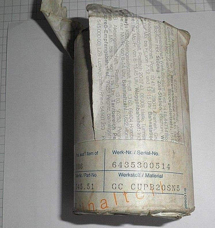 90002487 Lagerbuchse  Werkstoff CC CUPB20SN5 für Cora ? KSB Ersatzteil