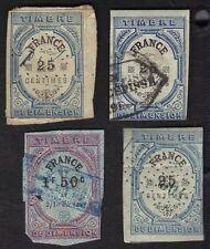 France 1875 Dimension Revenues Fiscals Imperfs Lot Of 4 Timbre de Dimension