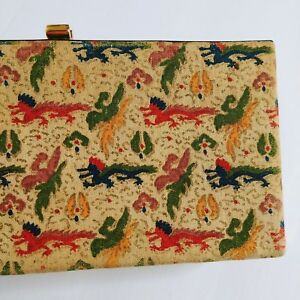 1940s-Vintage-Graceline-Handpainted-Dragon-Print-Clutch-Purse-4-5-x-9-x-2