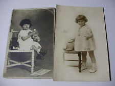 K160 - c1920s 2 x Original PHOTOGRAPHS Young Girls with Toys CUTE PHOTO Postcard