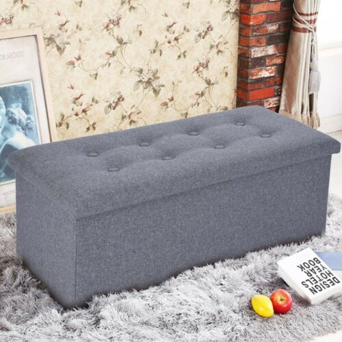 Storage Bench Ottoman Chest Collapsible Folding Foot Rest Faux Footstool Linen