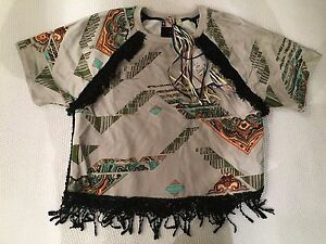 NWT-MSGM-Taupe-Tassle-Cotton-Sweater-with-Geometric-Design-size-M