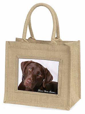 Schoko Labrador 'Liebe, die Sie Mama' Große Natürliche Jute-einkaufstasche,