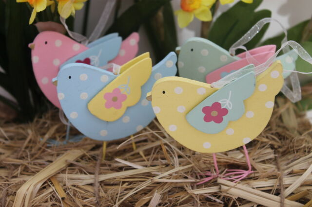 GISELA GRAHAM EASTER  WOOD PASTEL POLKA DOT BIRD DECORATION