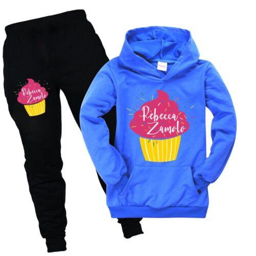 Zamfam Kids Tracksuit Rebecca Zamolo Trousers Pocket Hoodie Top+Pants Casual Set
